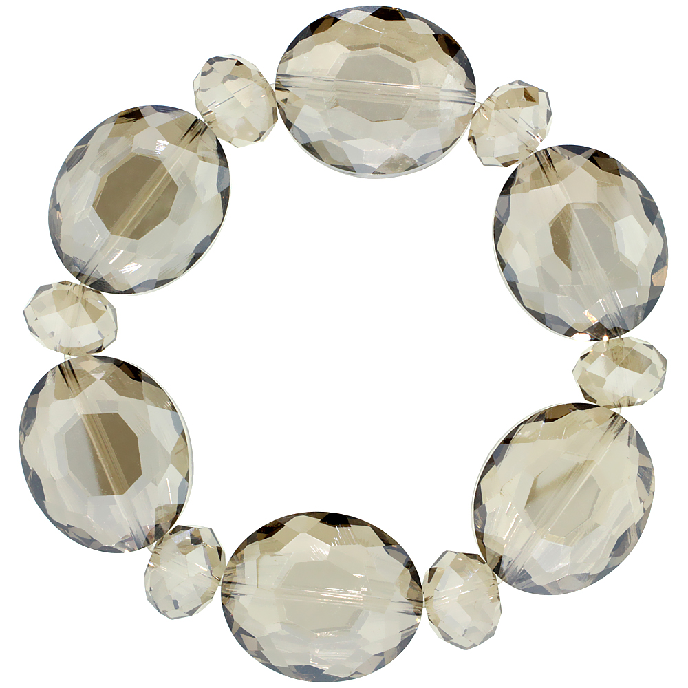 Amber Opal Oval & Round Faceted Crystal Beads Stretch Bracelet, 7 inch long