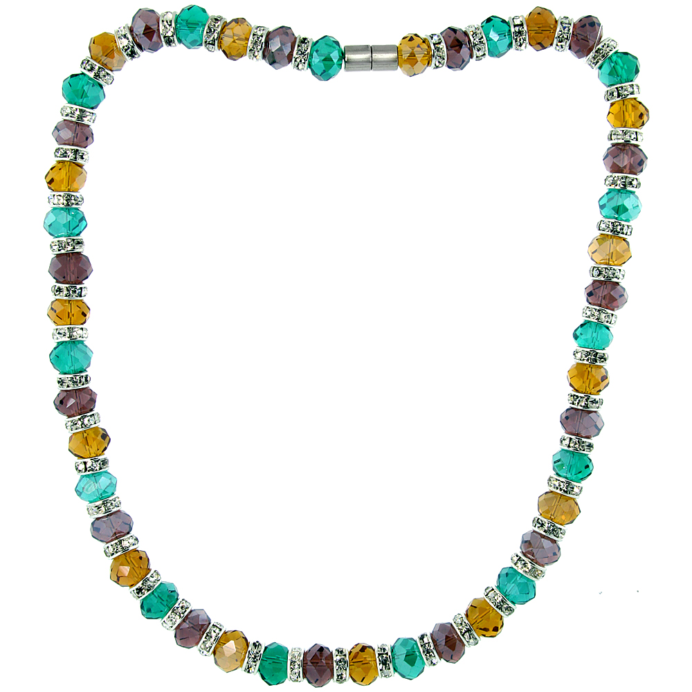 18 in. Multi Color Faceted Glass Crystal Necklace on Elastic Nylon Strand ( Emerald, Citrine & Amethyst Color ), 3/8 in. (10 mm) wide