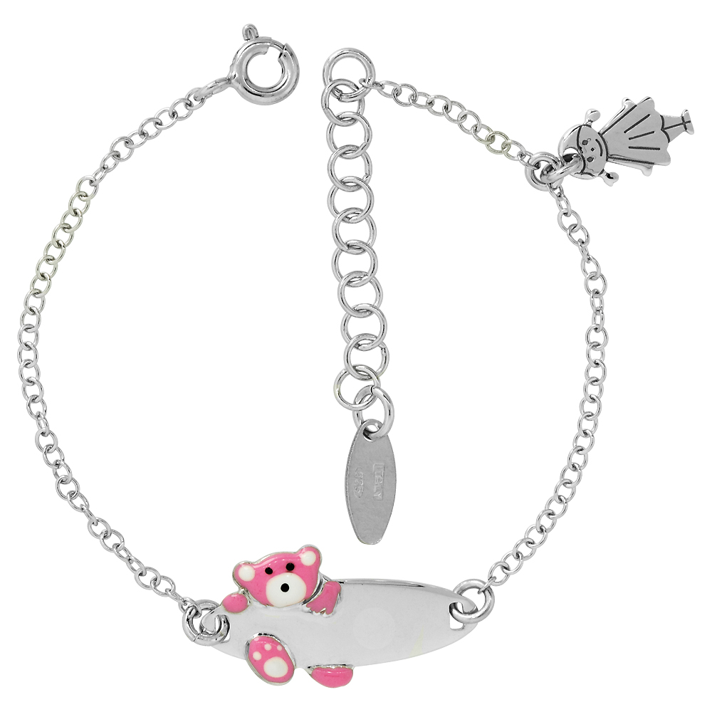 Sterling Silver Rolo Link Baby ID Bracelet in White Gold Finish w/ Pink Teddy Bear & Girl Charm (5-6 inch)