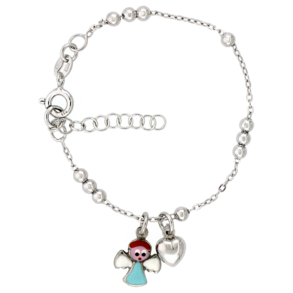 Sterling Silver Beaded Cable Link Baby Bracelet in White Gold Finish w/ Heart & Angel Charms (5-6 inch)