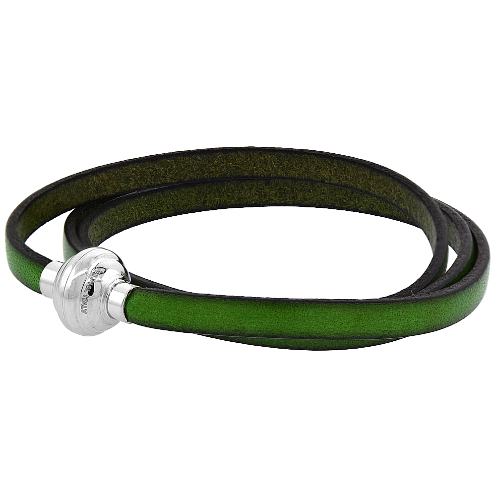 Green Leather Bracelet for women 3 Wrap Surgical Steel Neodymium Magnetic Clasp Italy