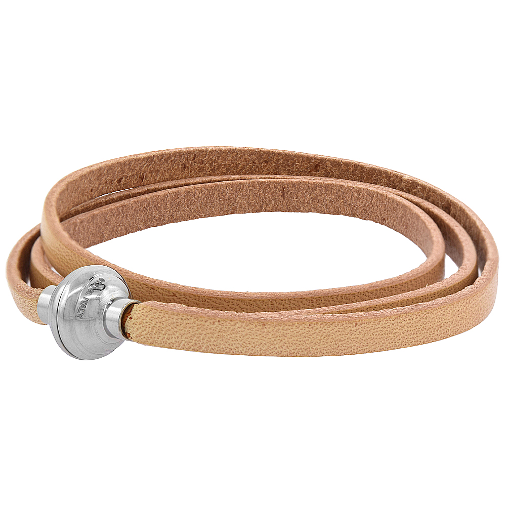 Tan Leather Bracelet for women 3 Wrap Surgical Steel Neodymium Magnetic Clasp Italy