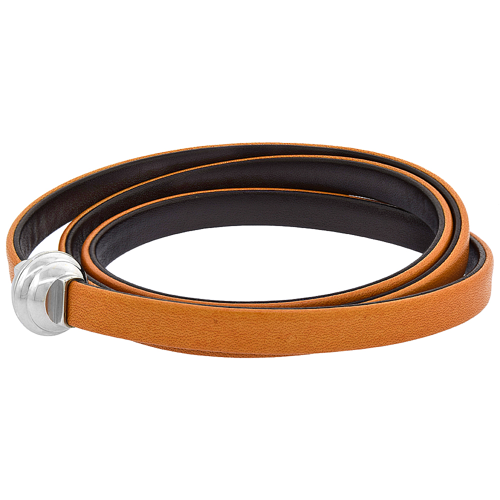 Tan & Brown Leather Bracelet for women Double Sided 3 Wrap Surgical Steel Neodymium Magnetic Clasp Italy