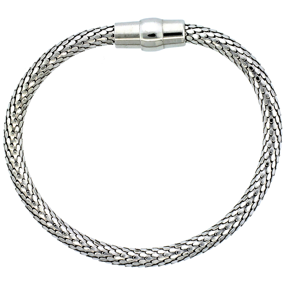 Sterling Silver Flexible Bangle Bracelet Magnetic Clasp Rhodium Finish, 3/16 inch wide