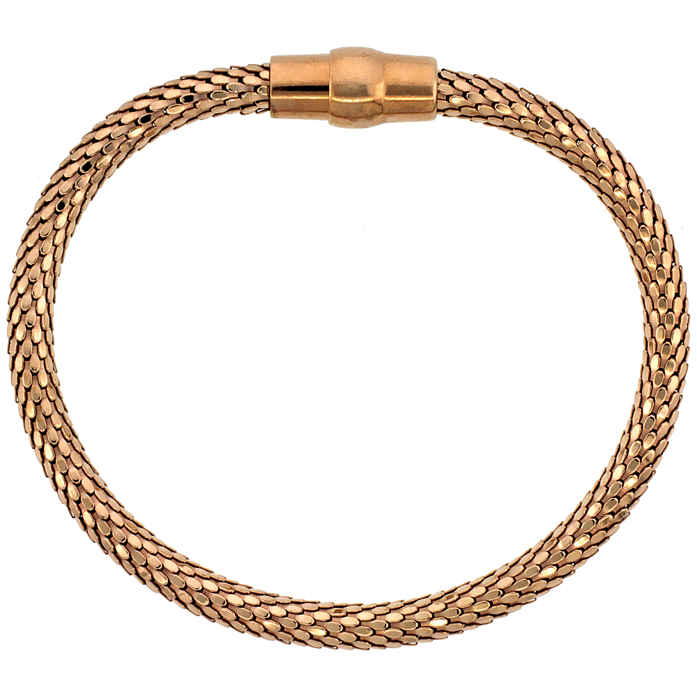 Sterling Silver Flexible Bangle Bracelet Magnetic Clasp Rose Gold Finish, 3/16 inch wide