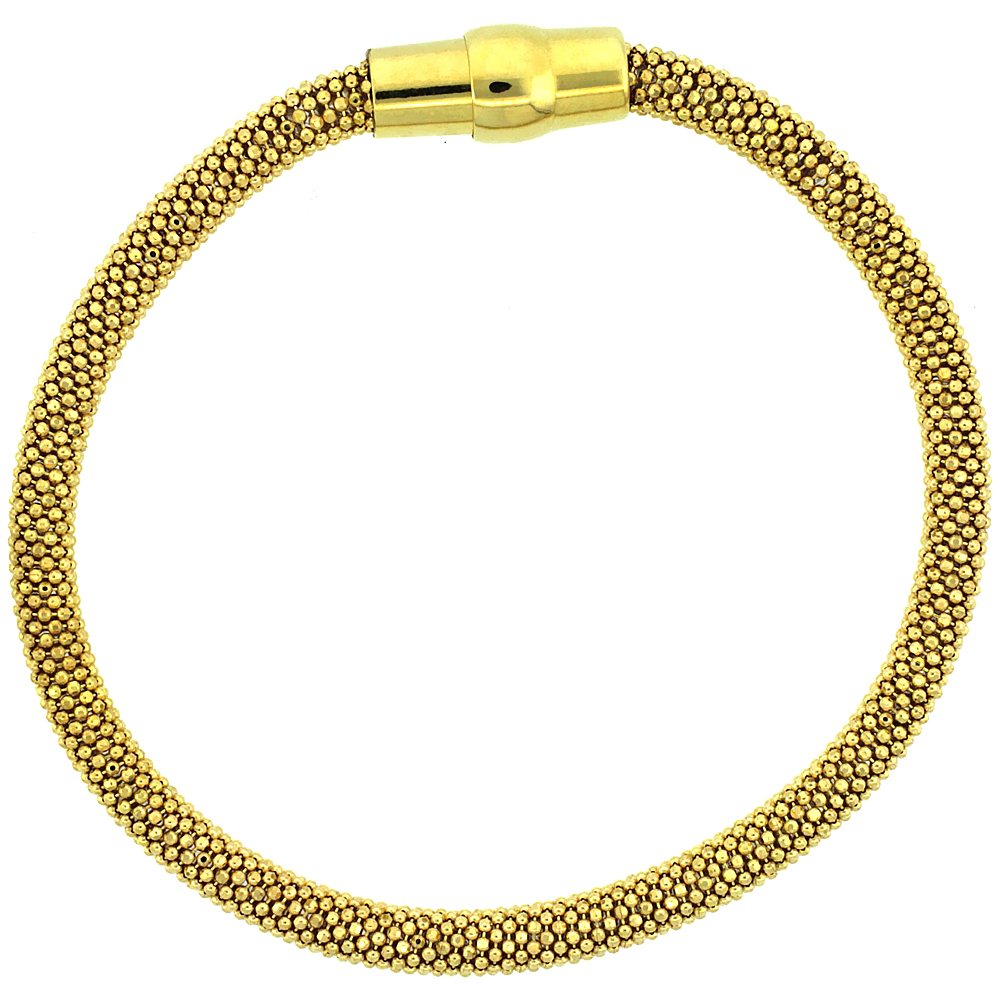Sterling Silver Flexible Beaded Bangle Bracelet Magnetic Clasp Yellow Gold Finish, 3/16 inch wide