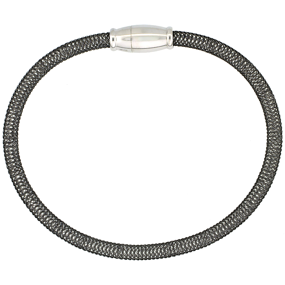 Sterling Silver Flexible Mesh Bangle Bracelet Magnetic Clasp Black Ruthenium Finish, 5/32 inch wide