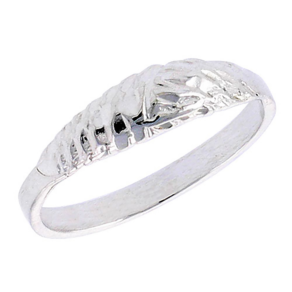 Sterling Silver Textured Half Round Baby Ring / Kid\'s Ring / Toe Ring (Available in Size 1 to 5)