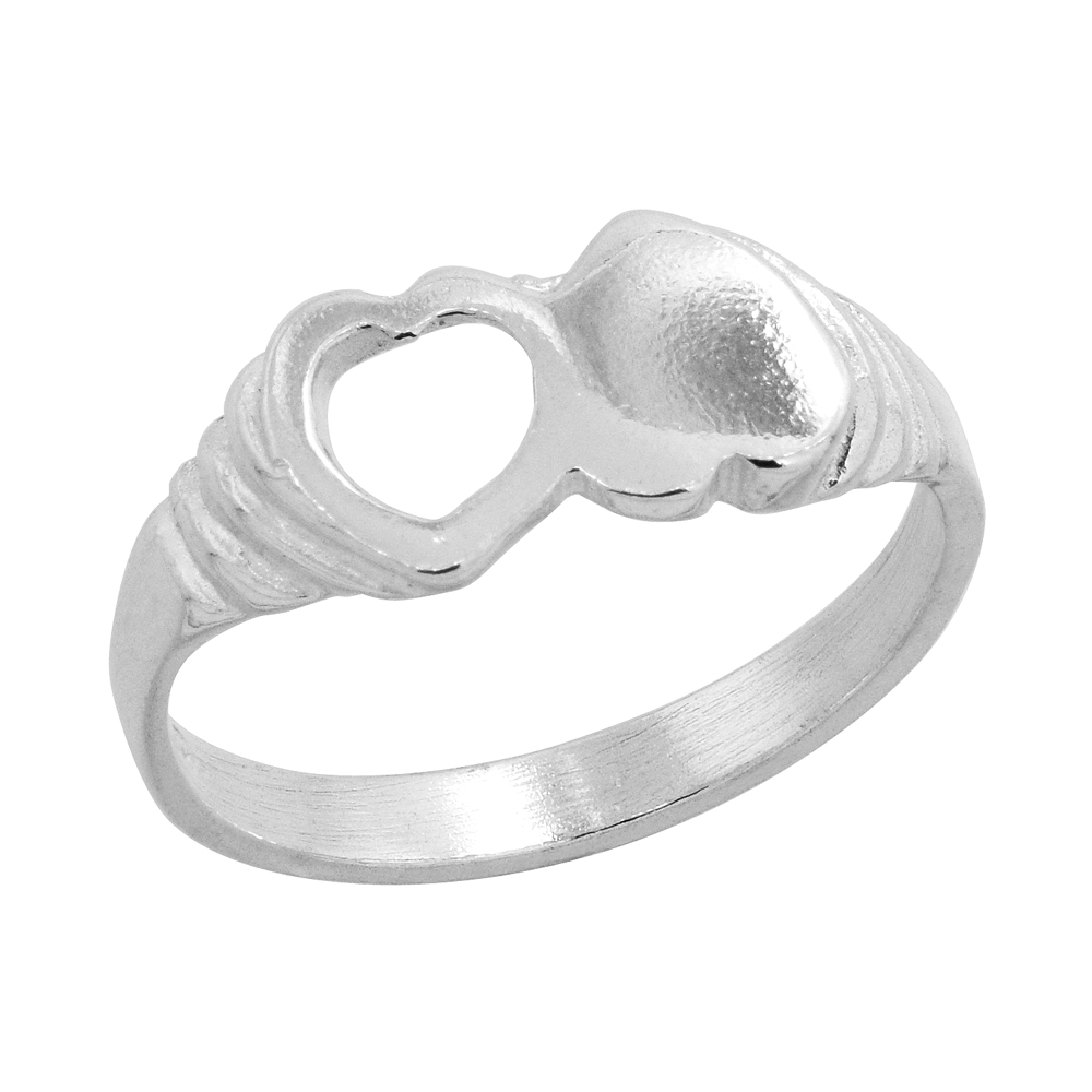 Sterling Silver Double Heart Baby Ring / Kid\'s Ring / Toe Ring (Available in Size 1 to 5)