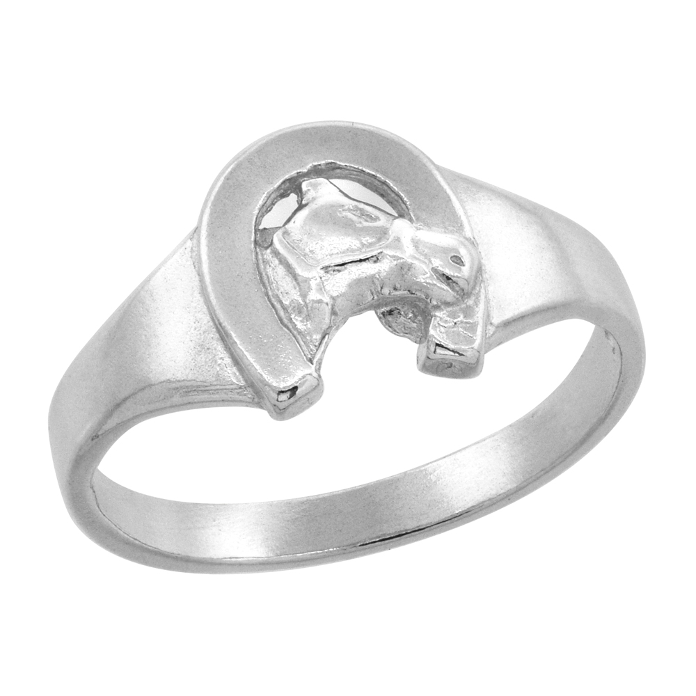 Sterling Silver Horse Shoe Baby Ring / Kid\'s Ring / Toe Ring (Available in Size 1 to 5)