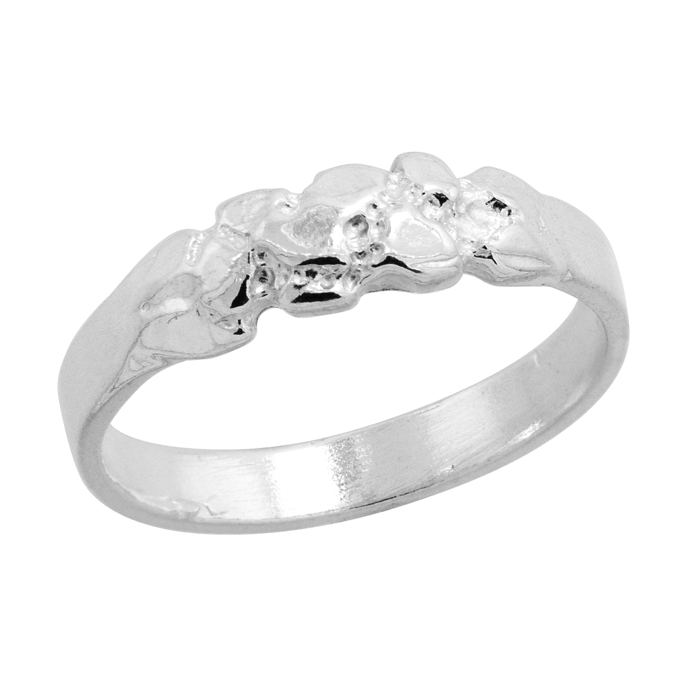 Sterling Silver Nugget Baby Ring / Kid\'s Ring / Toe Ring (Available in Size 1 to 5)