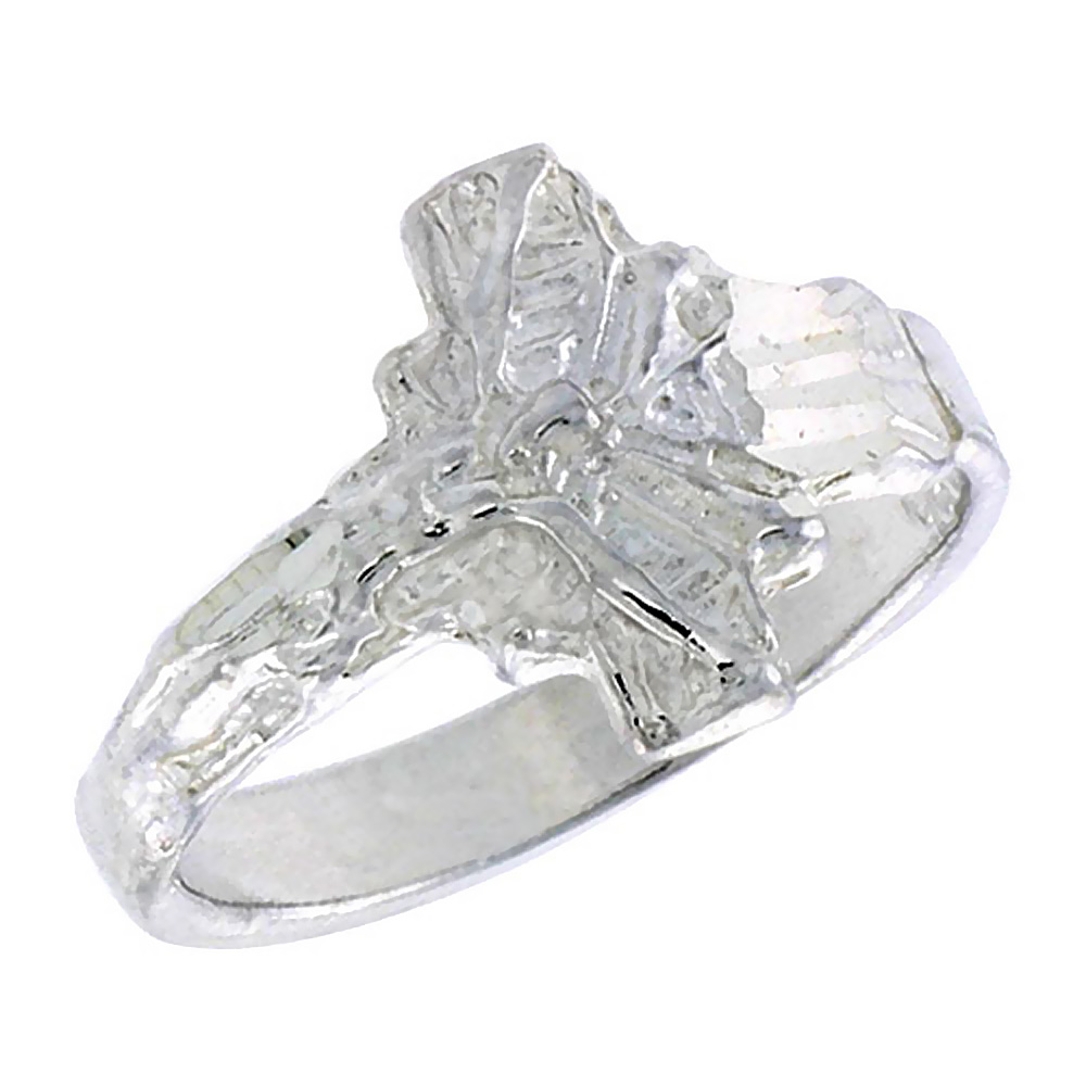 Sterling Silver Crucifix Baby Ring / Kid\'s Ring / Toe Ring (Available in Size 1 to 5)