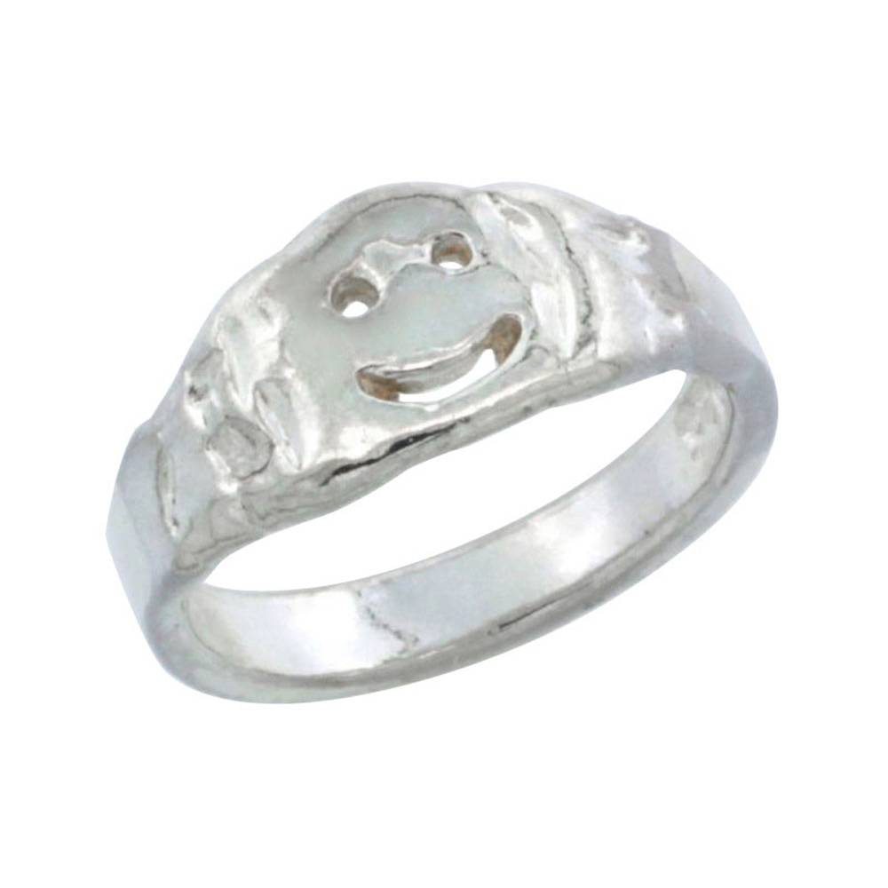 Sterling Silver Smiley Face Baby Ring / Kid\'s Ring / Toe Ring (Available in Size 1 to 5)
