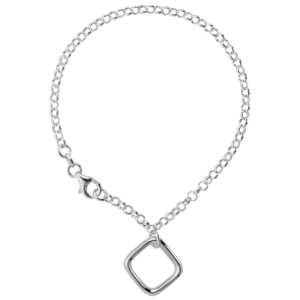 Sterling Silver Square Bracelet, 7 1/4 inch long