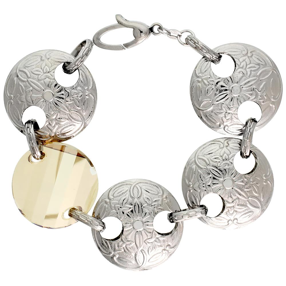 Sterling Silver Extra Large Floral Round Link Bracelet w/ Smoky Quartz Crystal Disc, 7 in.