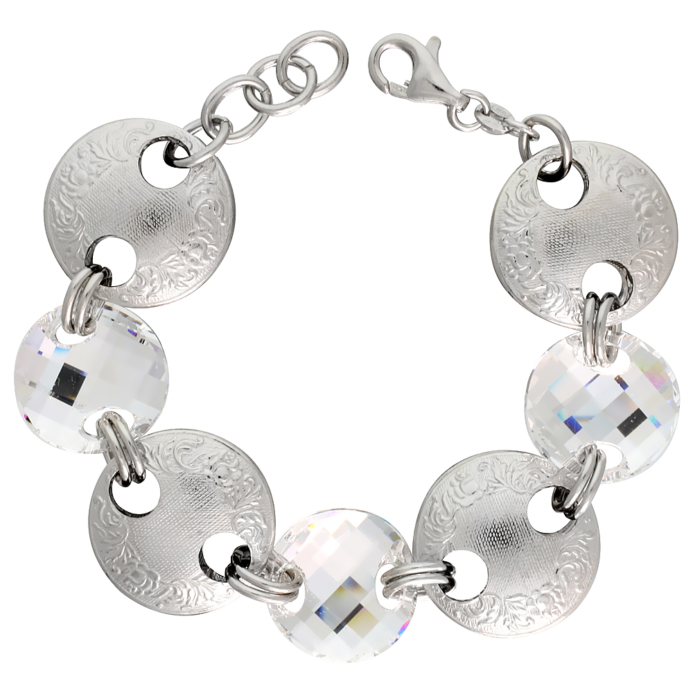 Sterling Silver Large Floral Round Link Bracelet w/ White Quartz Crystal Discs, 7 in.