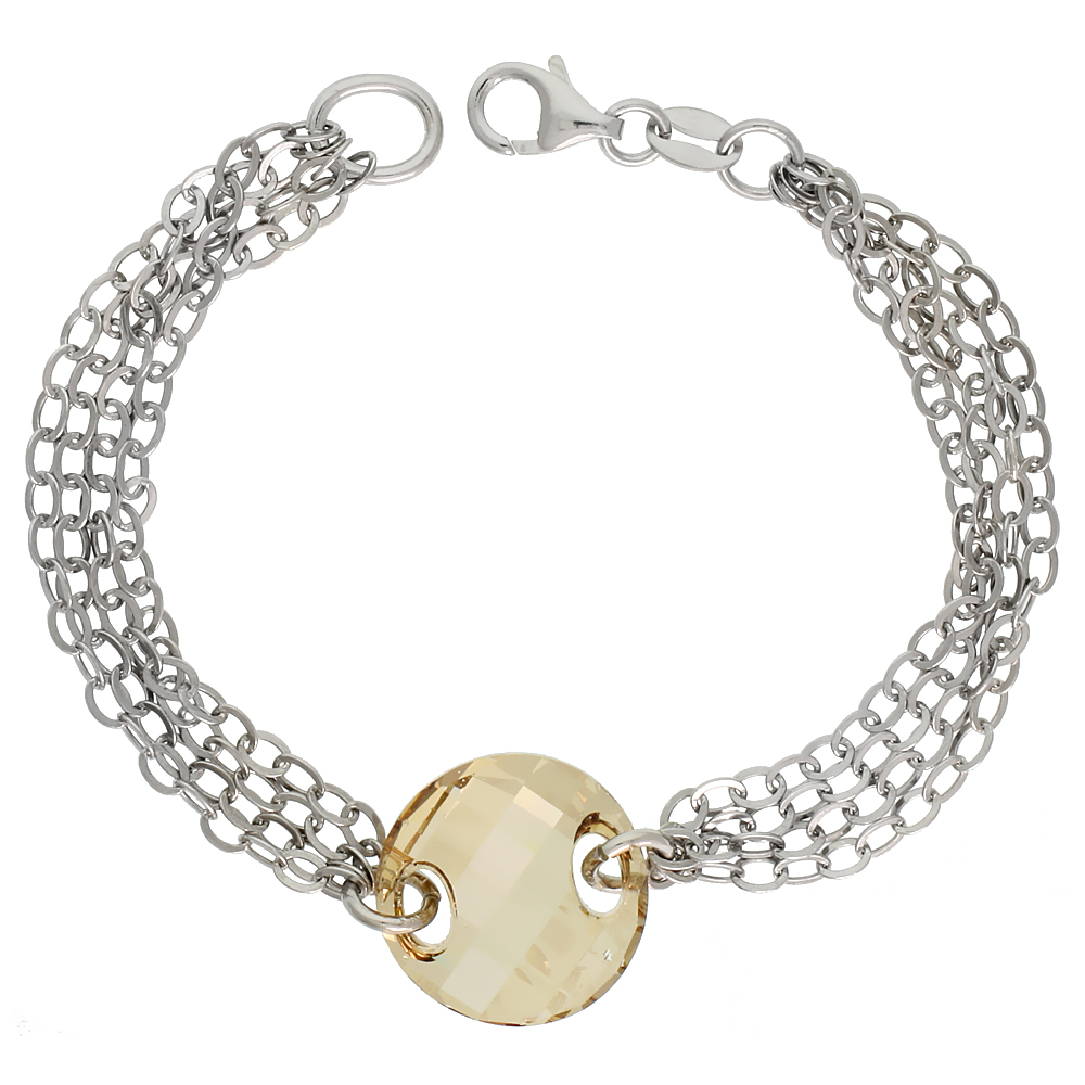 Sterling Silver 4-Strand 7 in. Rolo Necklace w/ Smoky Quartz Crystal Disc