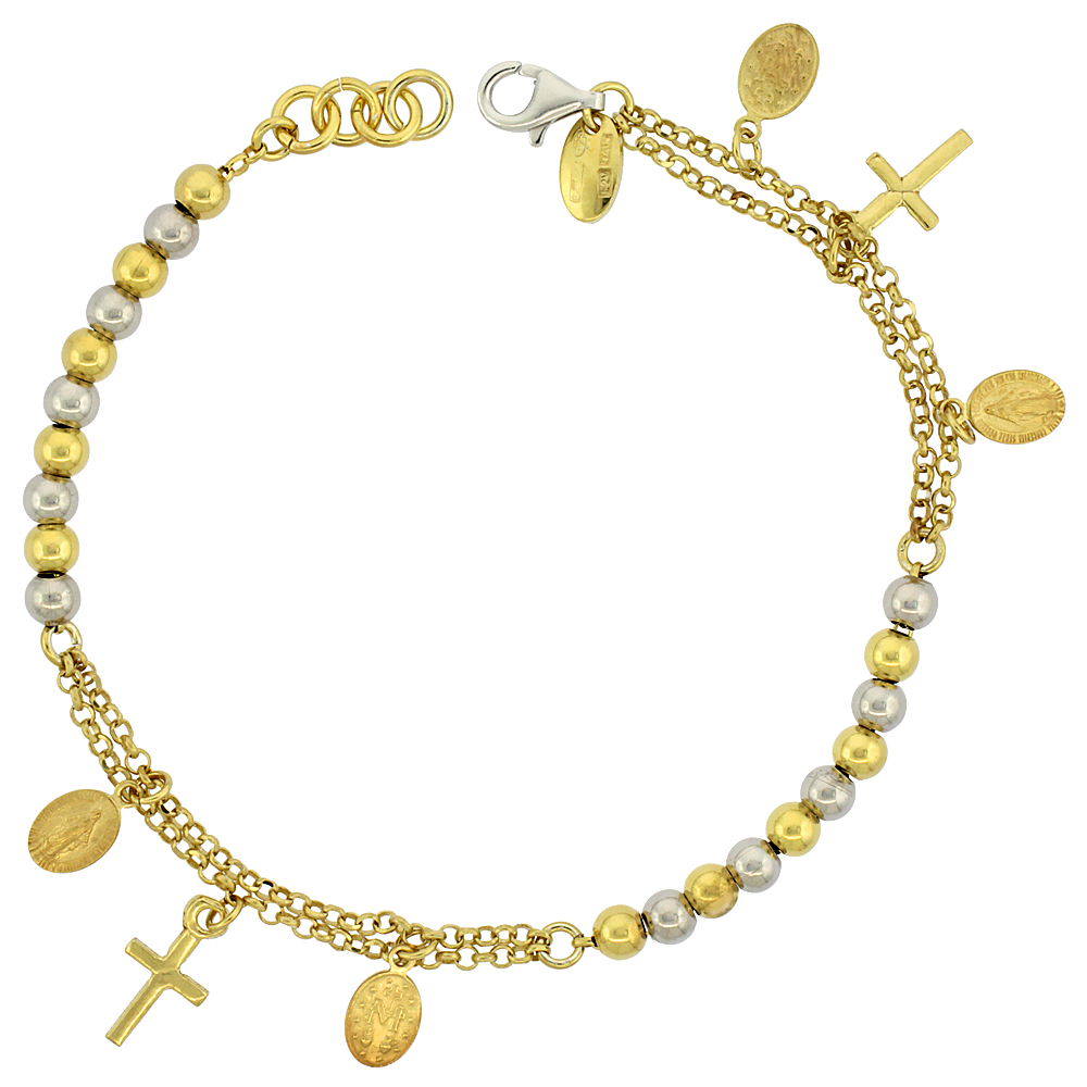 Sterling Silver Rosary Bracelet Miraculous Medal 4 mm Beads two-tone Gold finish Italy, 7 inch
