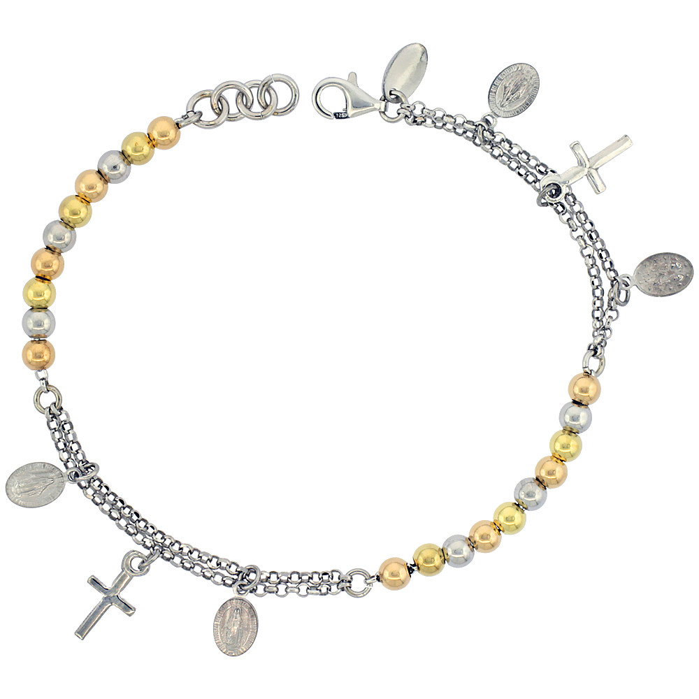 Sterling Silver Rosary Bracelet Miraculous Medal 4 mm Beads 3-tone Rhodium finish Italy, 7 inch