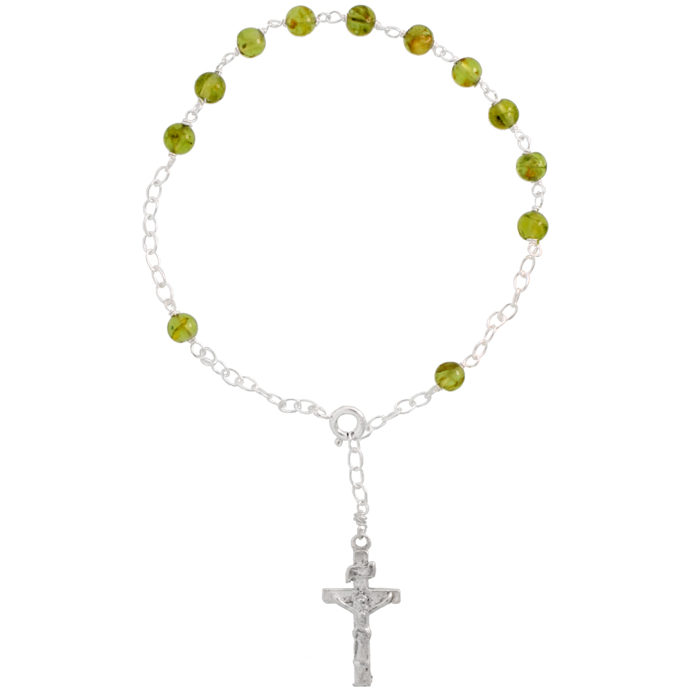 Rosaries/Sterling Silver with Gemstone Beads