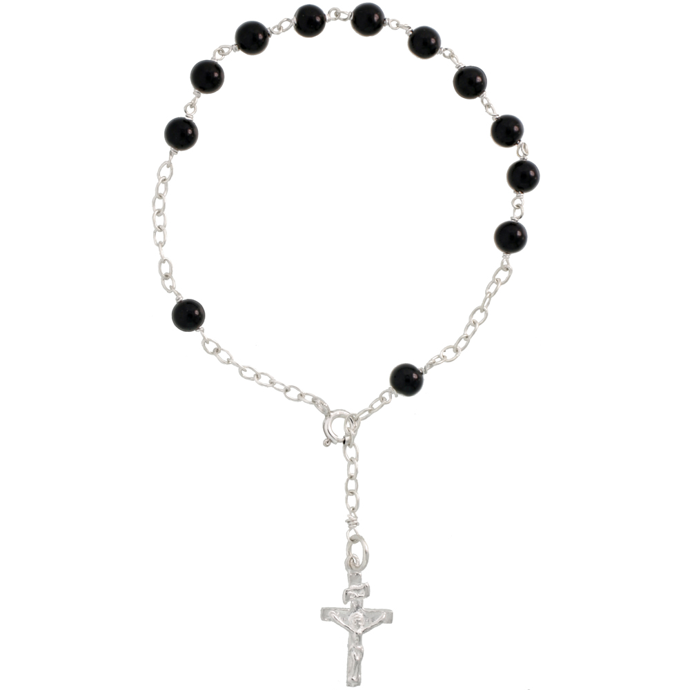 Sterling Silver Black Onyx Rosary Bracelet 5.5mm Beads, 7 1/4 inch long
