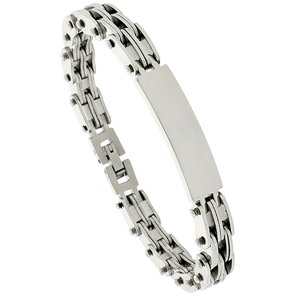 Gent\'s Stainless Steel ID Bracelet, 3/8 inch wide, 8 inch long