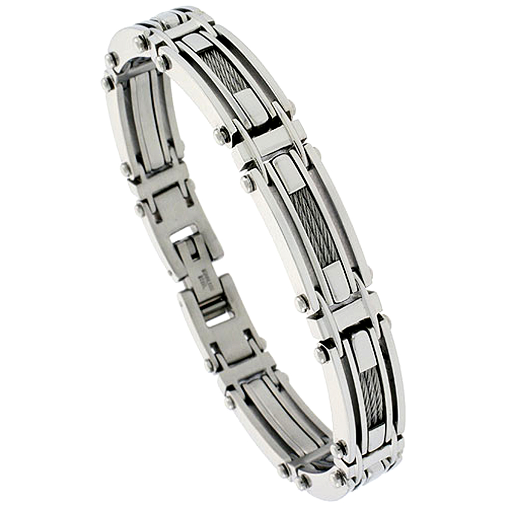 Stainless Steel Cable Bracelet For Men, 1/2 inch wide,