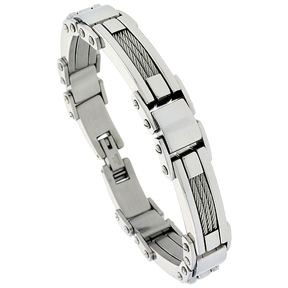 Gent\'s Stainless Steel Cable & Bar Bracelet, 1/2 inch wide, 9 inch long