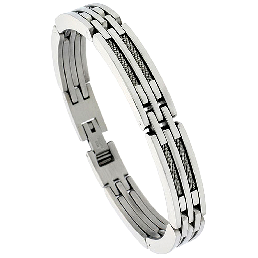 Gent\'s Stainless Steel Cable & Bar Bracelet, 3/8 inch wide, 8 1/2 inch long
