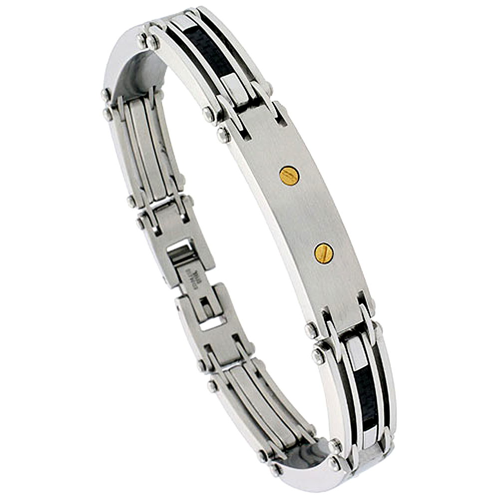 Gent\'s Stainless Steel Bracelet, w/ gold plated screw head & Black Carbon Fiber, 3/8 inch wide, 9 inch long