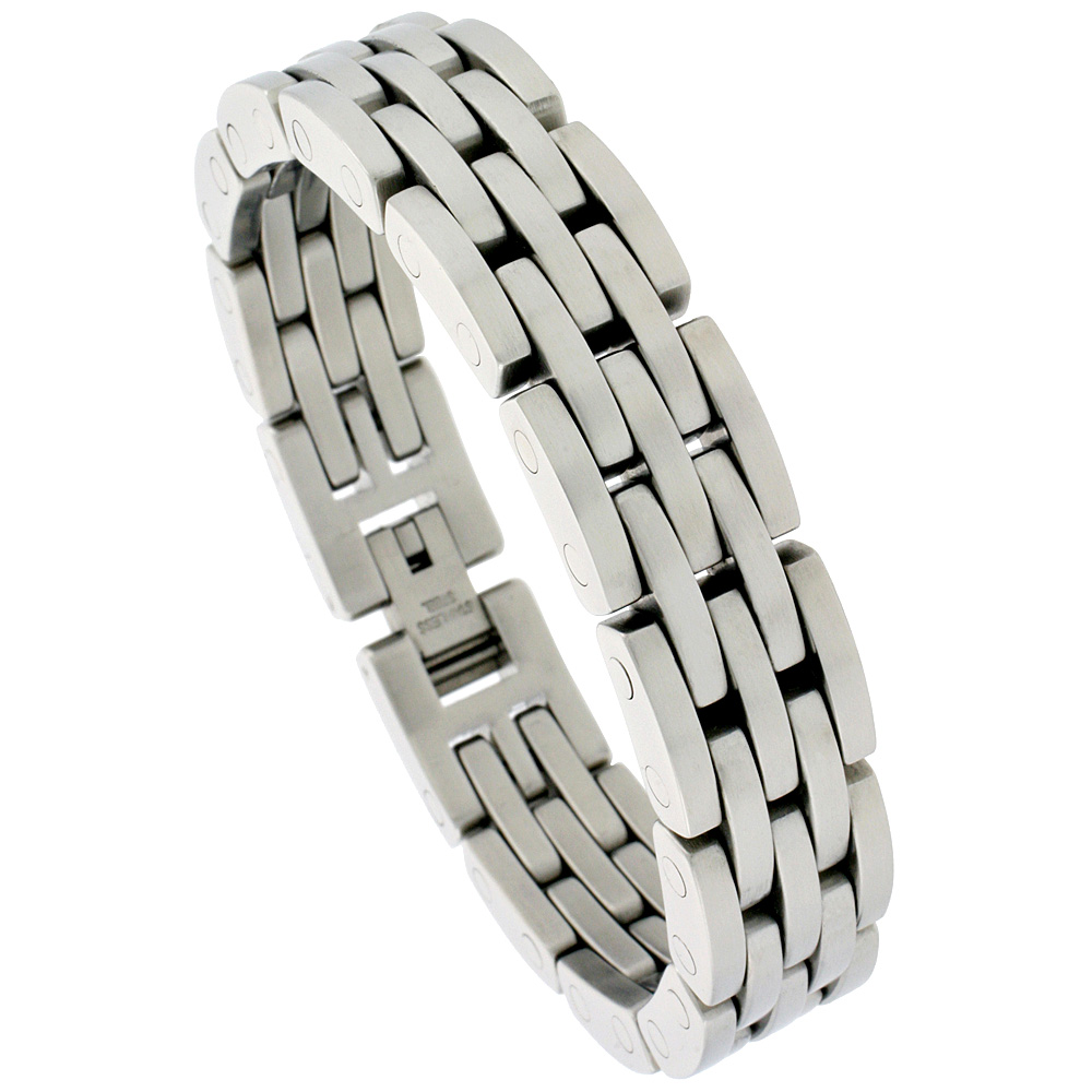 Gent\'s Stainless Steel Bar Bracelet, 5/8 inch wide, 8 1/2 inch long