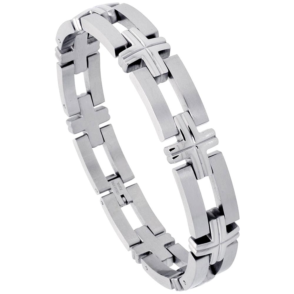 Stainless Steel Bracelet For Men, w/ Bars & Crosses 1/2 inch wide, 8 inch long