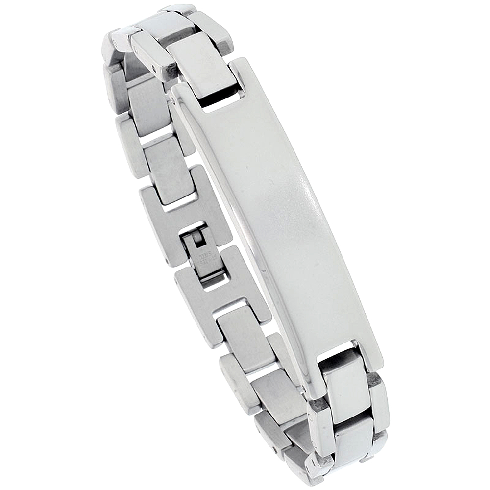 Stainless Steel ID Bracelet For Men 1/2 inch wide, 8.25 inch