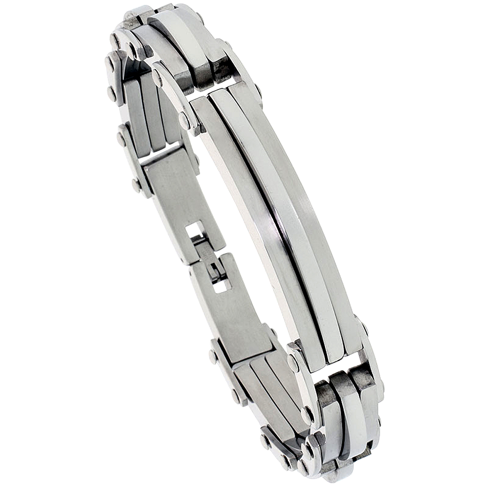 Stainless Steel ID Style Bar Bracelet For Men, 1/2 inch wide, 8.75 in.
