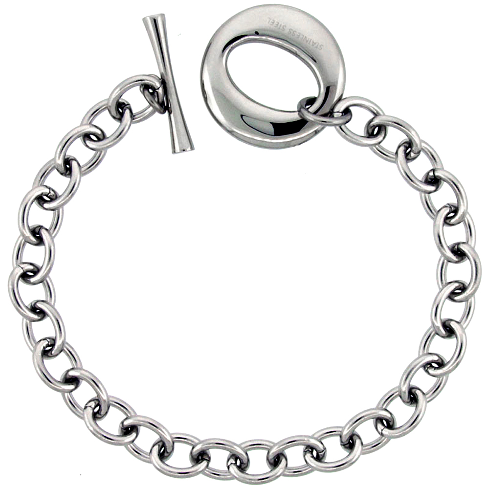 "Stainless Steel Cable Chain Bracelet for Men Large O"" Toggle Clasp 7/8 inch wide, 8.25 inch ling"""