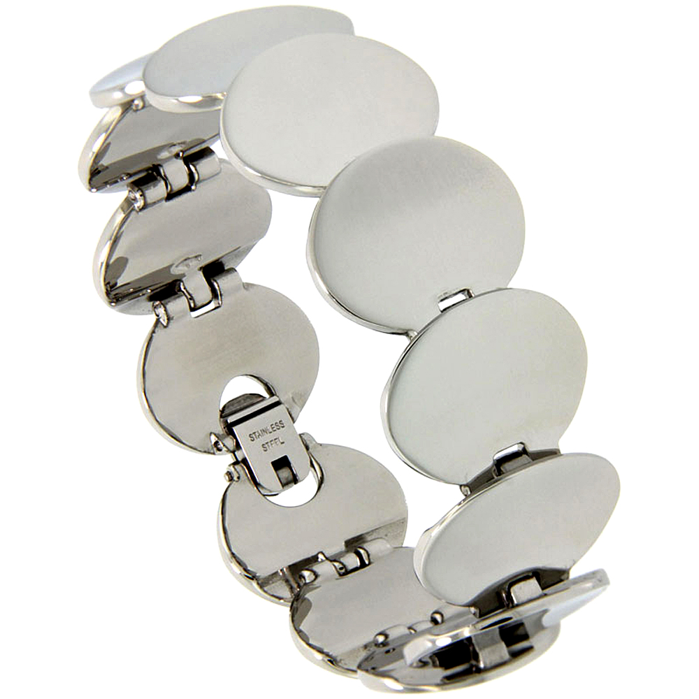 Stainless Steel Bracelet for Women Round Disc Links 3/4 inch wide, 7 inch