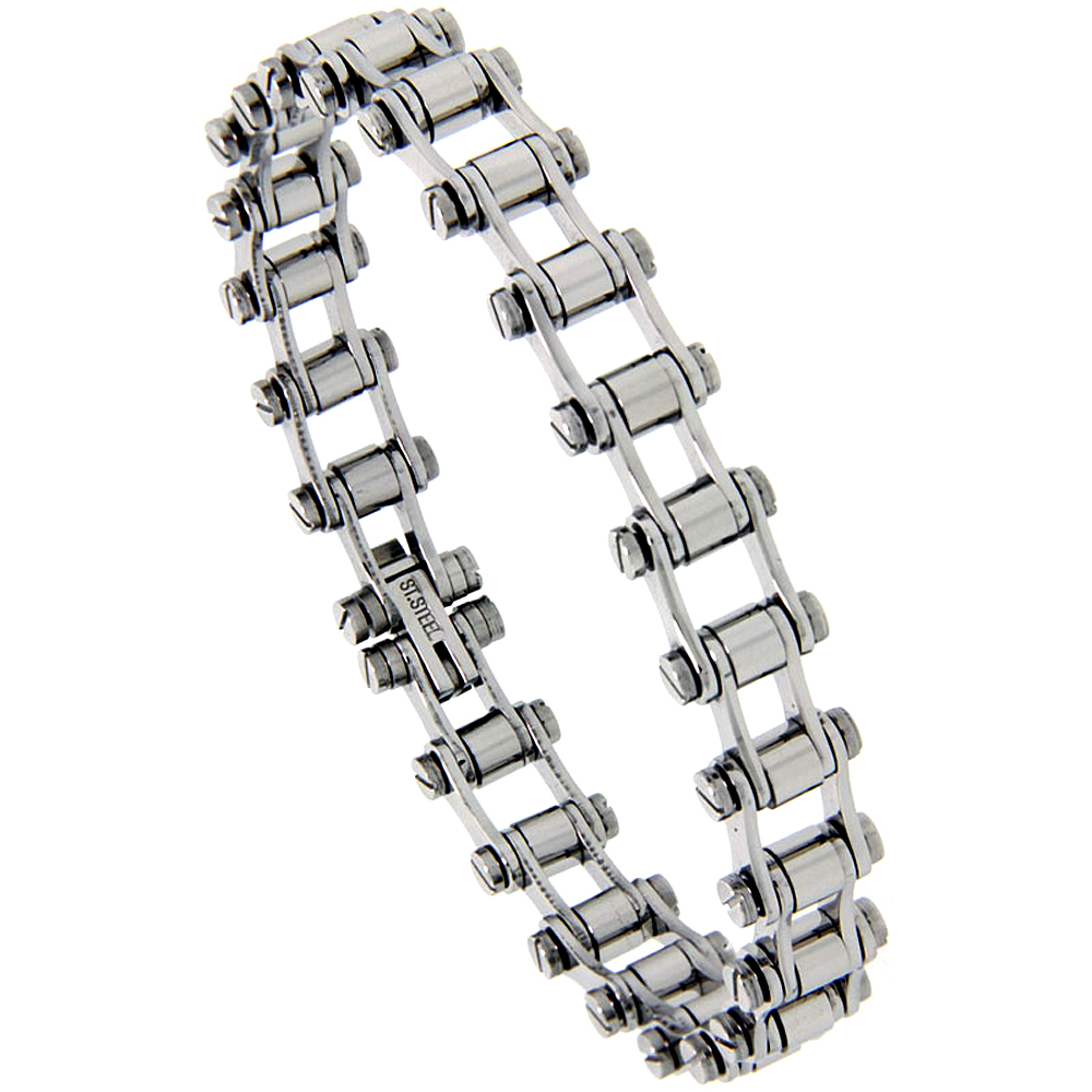 Stainless Steel Bicycle Chain Bracelet for Women smallest size 3/8 inch wide, 7.25 inch
