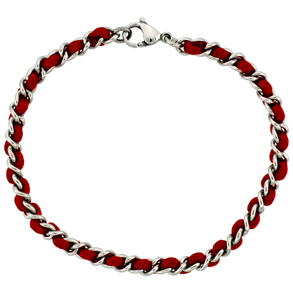 Stainless Steel Red Satin Cord Link Bracelet for Women intertwined, 3/16 inch wide, 7 1/4 inch long