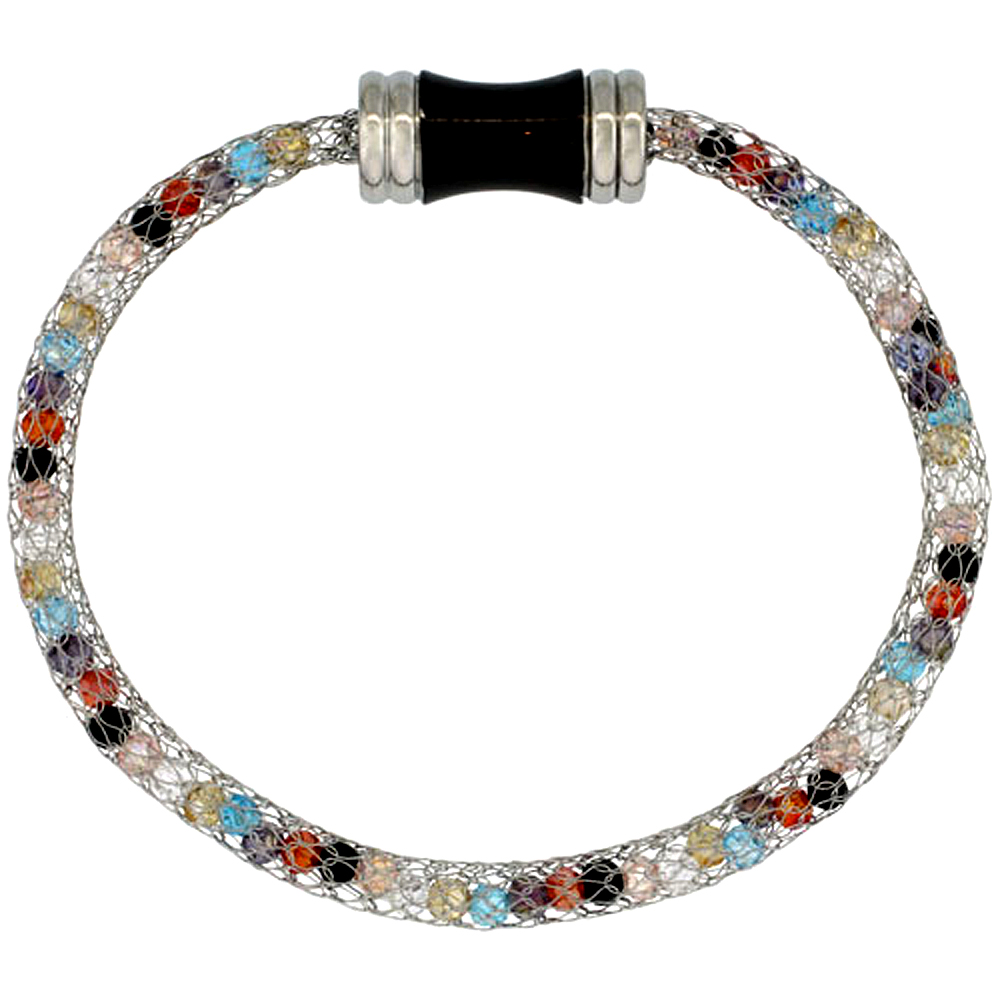 Stainless Steel Multi-color Crystal Cage Bracelet Magnetic-clasp 7.5 inch long