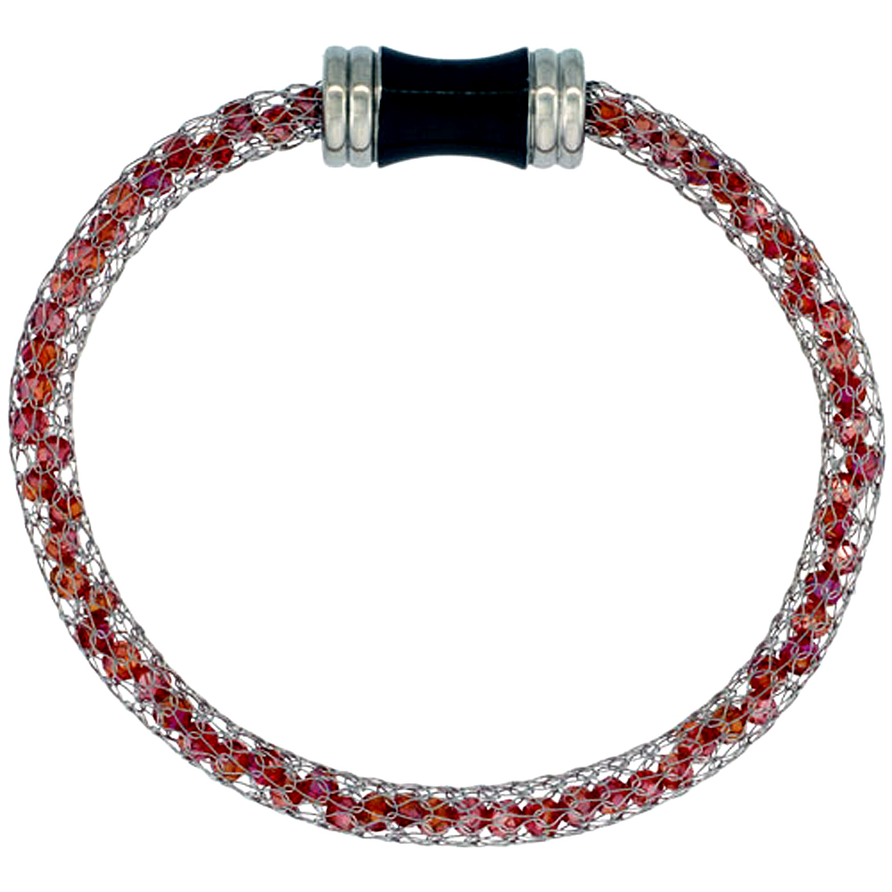 Stainless Steel Ruby-red Crystal Mesh Bracelet For Women Magnetic-clasp 7.5 inch long