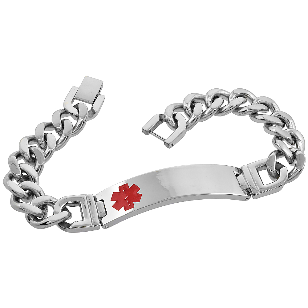 Stainless Steel Medical Alert ID Bracelet Curb Link 1/2 inch wide, 8.5 & 9 inches long