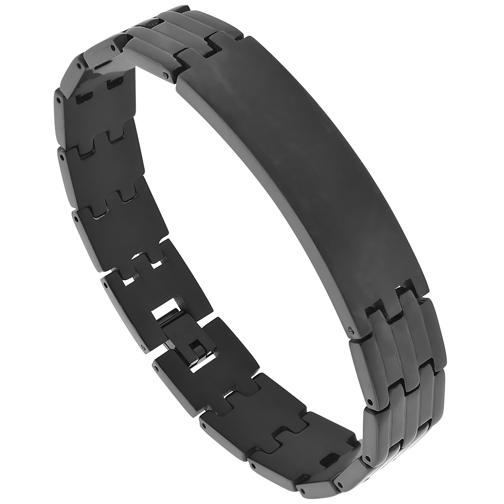 Stainless Steel Black Identification Bracelet 9/16 inch wide, 8.5 inches long