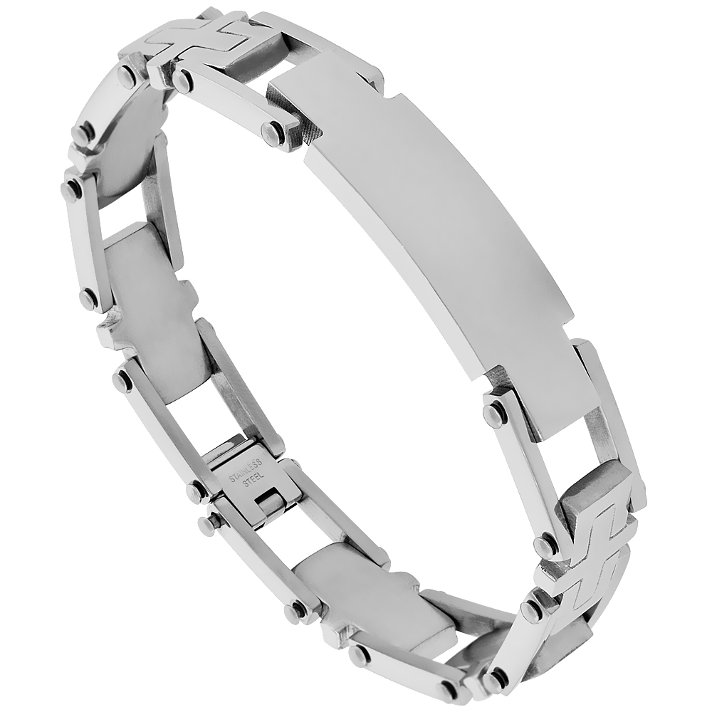 Stainless Steel Identification Cross Bar Bracelet 9/16 inch wide, 8.5 inches long