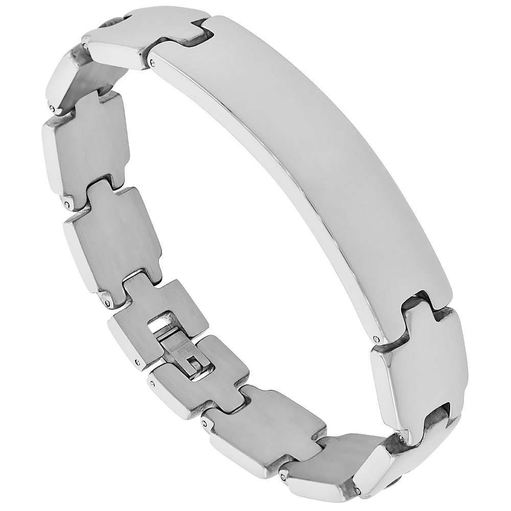 Stainless Steel Identification Bar Bracelet 9/16 inch wide, 8.5 inches long