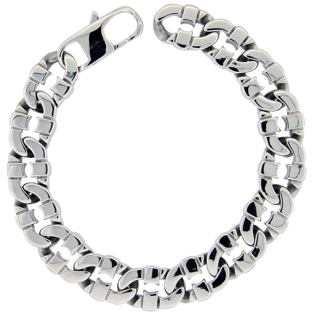 Stainless Steel Flat Mariner Link Bracelet For Men Hefty Hand Made High polish 1/2 inch wide, size 8.5 inch