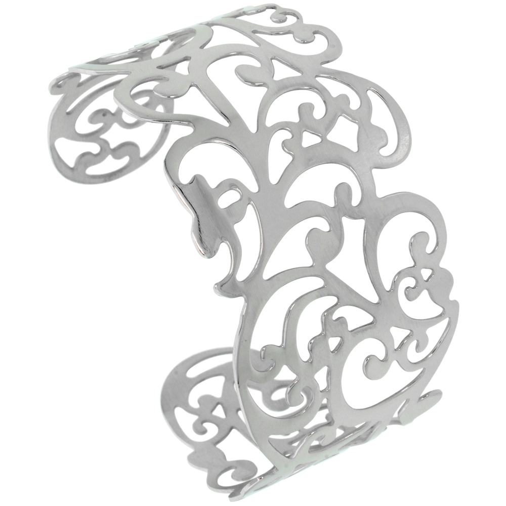 Stainless Wide Steel Cuff Bracelet for Women Floral Vine Cut-out pattern 1 1/2 inch wide, size 7.5 inch