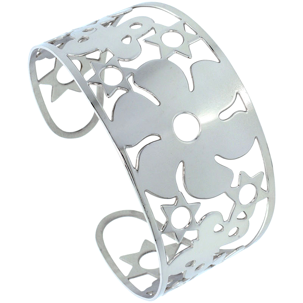 Stainless Wide Steel Cuff Bracelet for Women Butterflies Flowers Stars 1 3/4 inch wide, size 7.5 inch