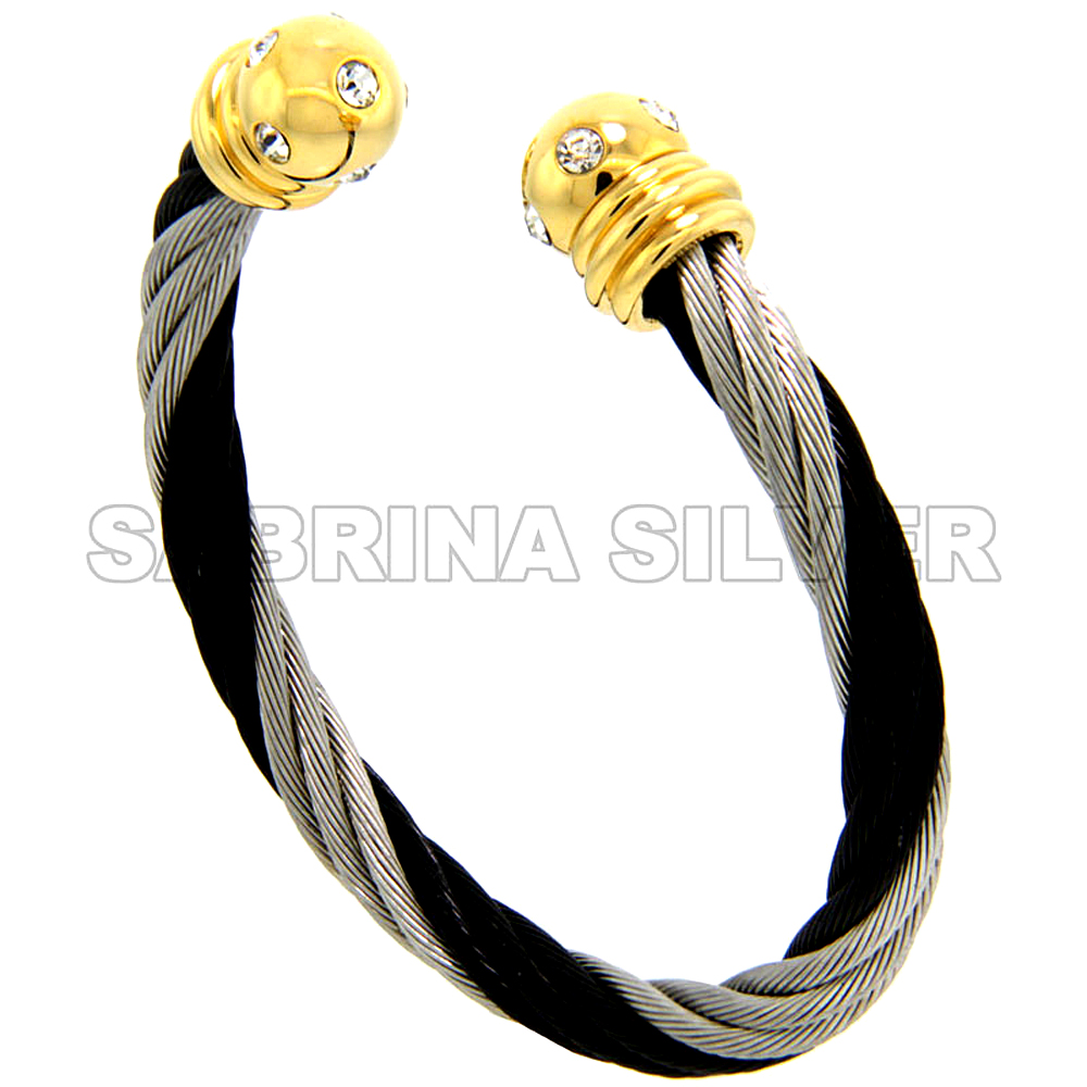 Stainless Steel Cable Golf Bracelet for Women w/ CZ 2-Tone Black & Gun Metal Ball Ends, 7 inch