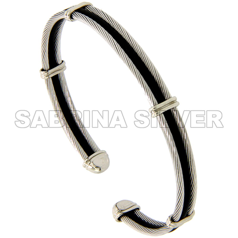 Stainless Steel Cable Golf Bracelet for Women Black Rubber Accent, 7 inch