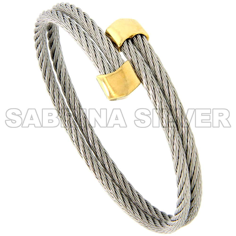 Stainless Steel Cable Golf Bracelet w/ Gold-Tone Ends, 1/4 inch wide, 7 in.